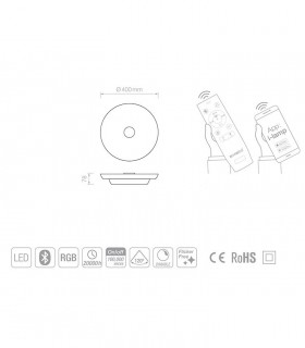 Caracteristicas Plafón Music PF Brillos 40cm + Bluetooh RGB + App Control