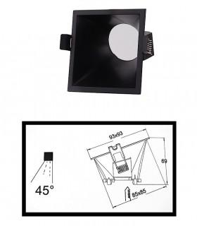 Dimensiones: Aro LAMBORJINI COMFORT GU10 FIJO 45º Negro Mate Cuadrado 6846 Mantra
