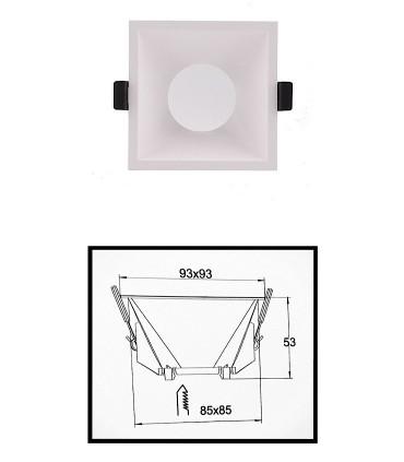 Dimensiones: Aro LAMBORJINI COMFORT GU10 FIJO Blanco Cuadrado 6841 Mantra