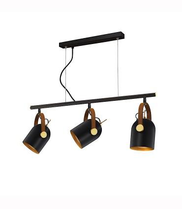 Lámpara 3 luces ADAME negro oro de Schuller