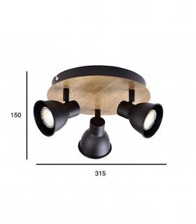 Medidas: Plafón MIKO 3 focos haya-negro GU10 10270 Jueric