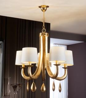 Lampara GRACIA pan de oro 5 luces - Schuller