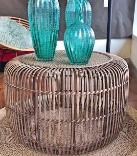Mesa circular de bambú 80x80x50cm