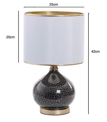 Medidas Lámpara de sobremesa cristal negro-oro Ø25cm