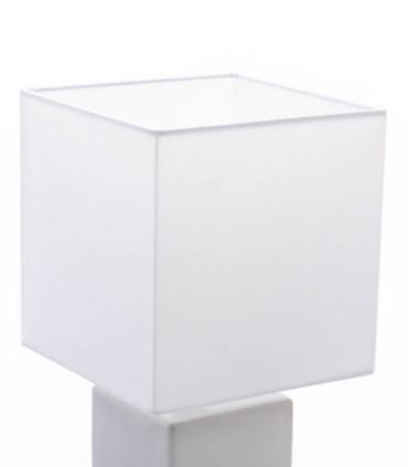 Lámpara de sobremesa cerámica blanco plata 20x20x47cm