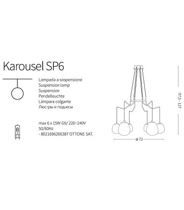 Lámpara Karousel SP6 206387 Ideal Lux