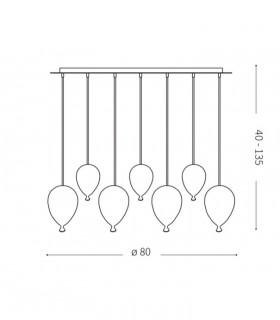 Dimensiones Lámpara Clown SP7 Multicolor 100937 Ideal Lux