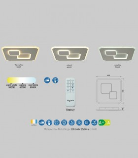 Características Plafón Quad Blanco 50W c/mando 6455 Mantra