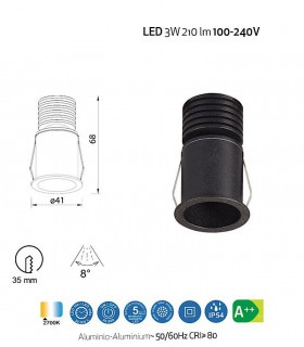 Empotrable GUINCHO LED Negro 3W IP54 Mantra