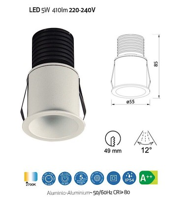 Empotrable GUINCHO LED Blanco 5W IP54 Mantra