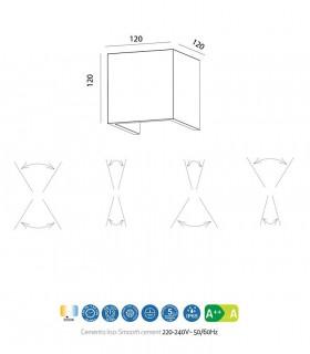 Medidas: Aplique TAOS 12W cemento IP65 7109 Mantra