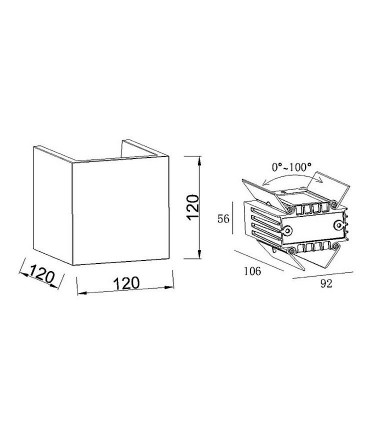 Aplique TAOS 12W cemento IP65  Mantra