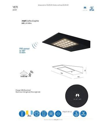Aplique de carga solar Yeti grafito con detector de presencia 7098 Mantra
