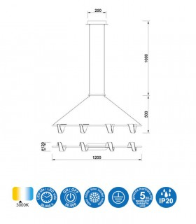 Lámpara colgante TSUNAMI LED 48W BLANCO 6650 MANTRA
