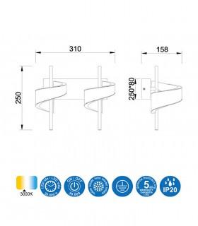 Medidas: Aplique TSUNAMI LED BLANCO 2 luces 6652 MANTRA