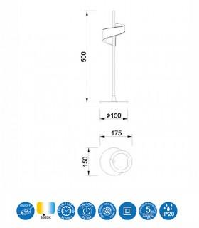 Lámpara de mesa TSUNAMI LED blanco 6655 MANTRA