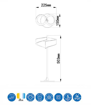Lámpara de mesa TSUNAMI LED blanco 6656 MANTRA