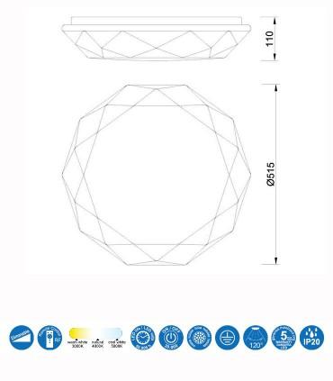 Dimensiones: Plafón led DIAMANTE SMART Inteligente 80W 5973 Alexa, App Mantra