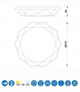 Plafón led DIAMANTE SMART Inteligente 56W 5974 Alexa, App Mantra