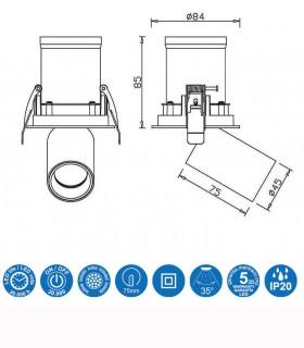 Dimensiones Foco Empotrable Basculante GARDA 7W Mantra