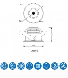 Características Foco Empotrable CÍES Led 7w IP54 Blanco Mantra