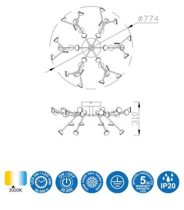 Características: Plafón de techo Adn Negro 100w 6422 Mantra