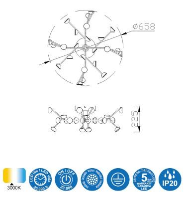 Características: Plafón de techo Adn Negro 72w 6423  Mantra
