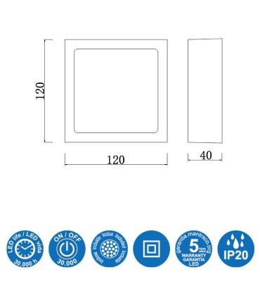 Características: Plafón Superficie Saona 8w Cuadrado Mantra 6628 (3000K), 6629 (4000K)
