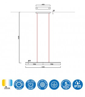 Características TORCH, Colgante blanco LED 22w 6825 Mantra