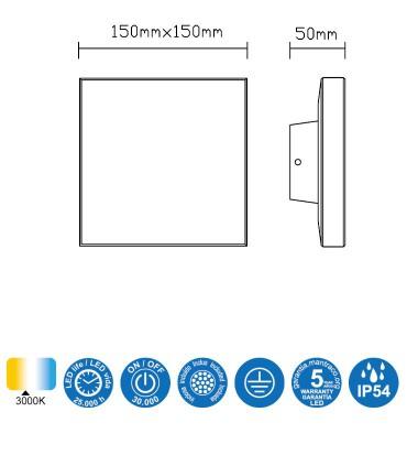 Características Aplique exterior Bora blanco 6537 cuadrado Mantra