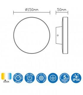 Características Aplique exterior Bora gris oscuro 6534 circular Mantra