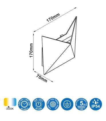 Características Aplique exterior led Triax 6525 gris oscuro Mantra