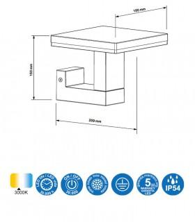 Características Aplique Tignes 6497 gris oscuro Mantra 10w