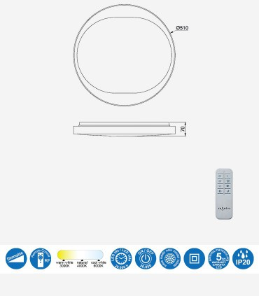 Características Plafón Box Blanco 36W Led c/mando 7155 Mantra