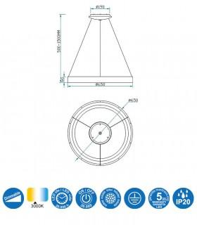 Características Colgante NISEKO 65cm 50W 5796 Mantra
