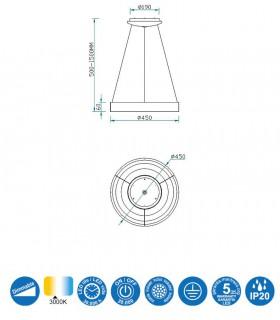 Características NISEKO 45cm 30W 5797 Mantra