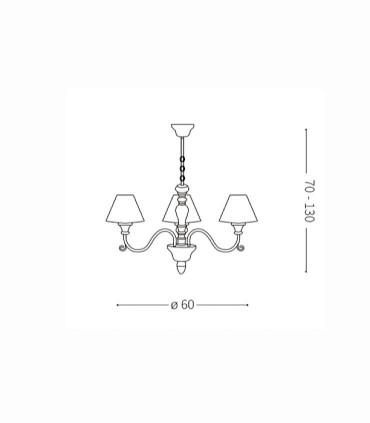 Medidas lámpara PROVENCE SP3 de Ideal Lux