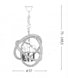 Medidas lámpara CORDA SP6 de Ideal Lux