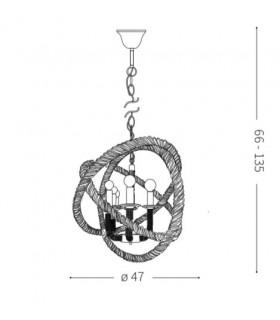 Medidas lámpara CORDA SP3 de Ideal Lux
