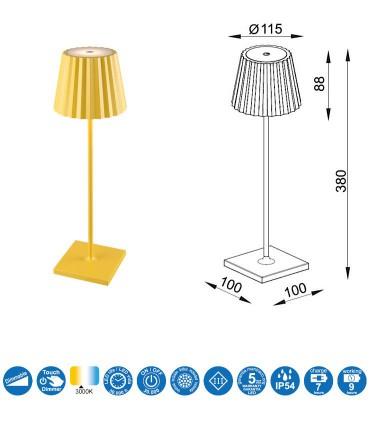 Características Sobremesa exterior recargable K2 amarillo portátil 6484 Mantra
