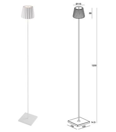 Dimensiones Lámpara Pie Exterior Recargable K2 Blanco 7100 Mantra