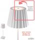 Sensor táctil ON-OFF y regulación de intensidad de luz. Sobremesa recargable K2 Mantra.