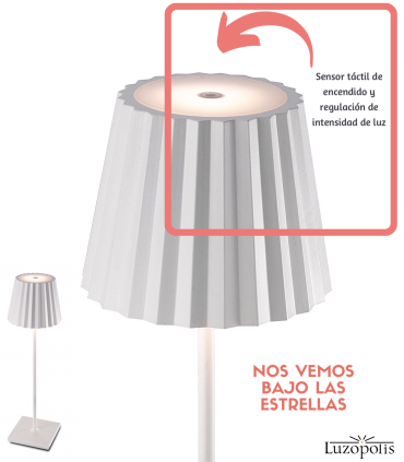 Sensor táctil ON-OFF y regulación de intensidad de luz. Sobremesa recargable K2 Mantra.