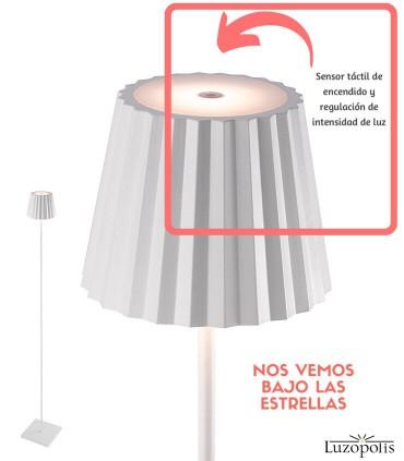 Lámpara Pie Exterior Recargable K2 Blanco 7100 Mantra Situación sensor táctil.