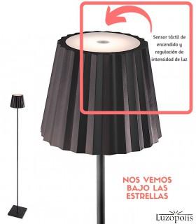 Lámpara Pie Exterior Recargable K2 Negro 7101 Mantra Situación sensor táctil.