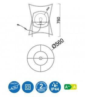 Características: Lámpara de Pie POLINESIA 7136 Ø56 Mantra