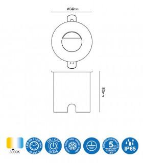 Foco Aspen 3W Blanco Redondo Señalizador IP65 7029 Mantra