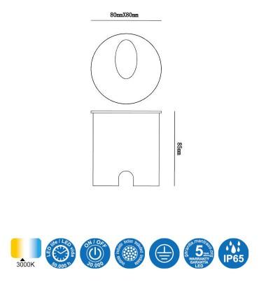 Medidas: Foco Aspen 3W Negro Arena Señalizador IP65 7022 Mantra