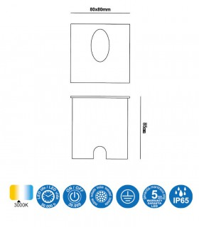 Medidas: Foco Aspen 3W Blanco Cuadrado Señalizador IP65 7026 Mantra