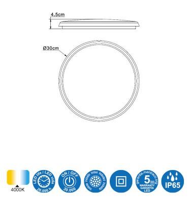 Características Plafón exterior Aneto circular 6485 ø30cm Mantra